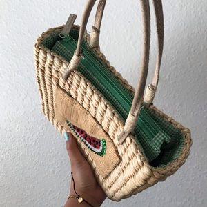Vintage Bags - ❣️hold❣️VINTAGE Woven Watermelon Mini Picnic Bag